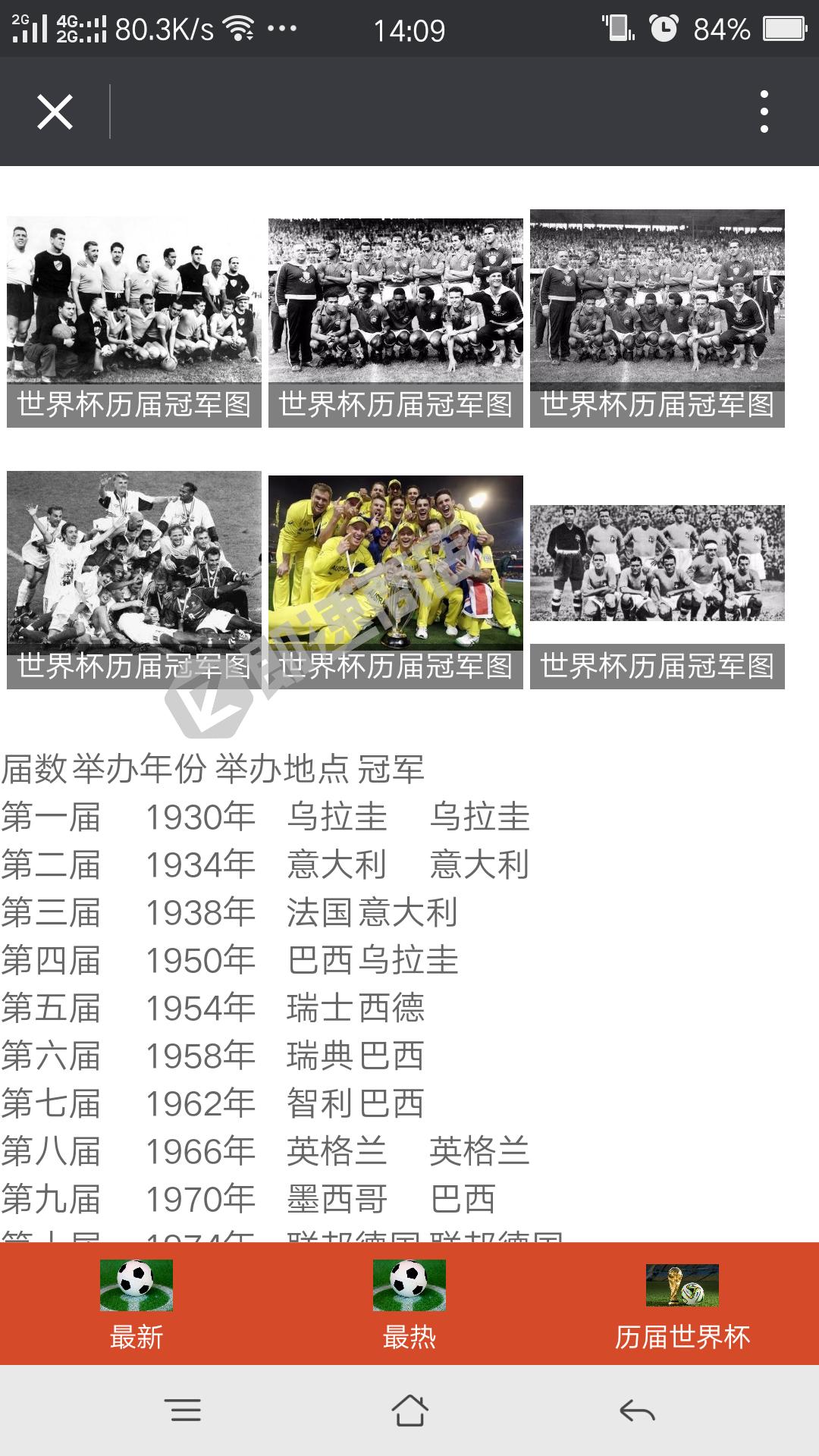 世界杯足球时事小程序详情页截图
