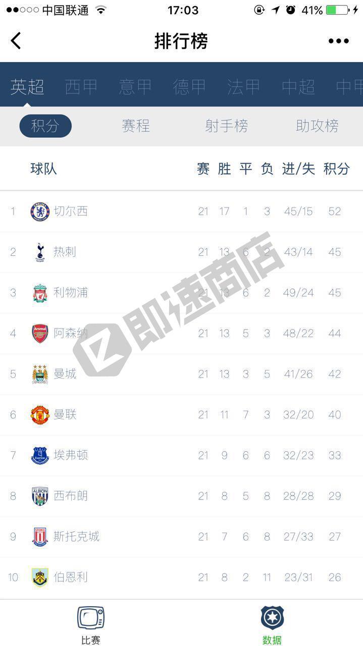 足球赛程积分排行榜小程序首页截图